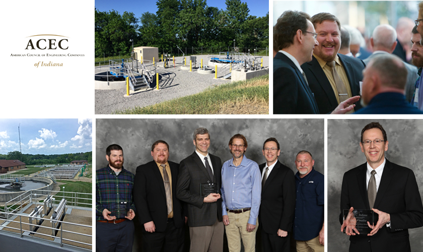 Thank you to ACEC-Indiana for sharing photos from your event, like these showing members of our Indianapolis office project team, Joe Tierney, Alex White, George Lewis, as well as representatives from Twin Lakes Regional Sewer District and Fall Creek Regional Waste District.